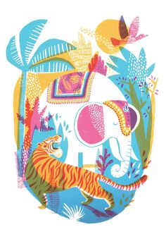 A4 art print of a colourful jungle, tiger and elephant. A hand signed, high quality print. Printed on beautifully textured 250gsm Tintoretto