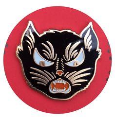 Vintage Black Cat Enamel Pin / Cultural Void