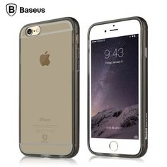 Black Baseus Metal Bumper Transparent Back Case Cover for iPhone 6/6Plus/iPhone 6S/6S Plus, The Case features a Premium Metal Bumper and a Soft TPU Case.
