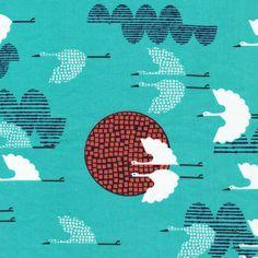 1000 Cranes | Cerulean from Tsuru by Rashida Coleman-Hale for Cloud9 Fabrics