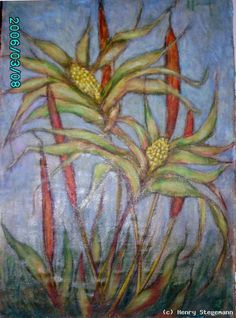 Henry Stegemann - Maiskolben gemalt  1965 auf Jute