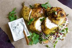 coconut and coriander half roast chickens