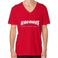 HARAMBE WHITE LOGO V-Neck (on man)