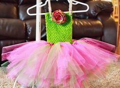 Ready to Ship Green and Pink Tutu Dress/Skirt and Flower. $24.00, via Etsy.