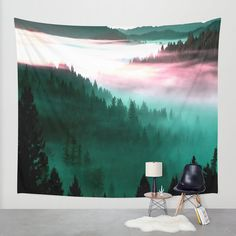 Wall Tapestry  Teal Tapestry Teal Forest Tapestry by 2sweetsGalaxy