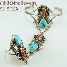 Harry B Yazzie Navajo Sterling Silver 925 Turquoise/Coral Slave Bracelet & Ring #SlaveBraceletwithattachedRing