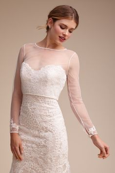 Kerrigan Topper from @BHLDN // You could pick any dress and then add a topper for the ceremony and remove for reception