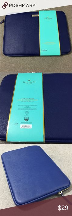 Kate Spade Surface Pro Sleeve NWT Kate Spade NY Saffiano Sleeve for Surface Pro 3, green covered inside foam, zip closure. (Avail on amazon for $55) kate spade Accessories Tablet Cases
