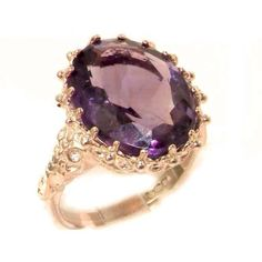 Luxury Solid Rose 9K Gold Large 16x12mm Oval 8.5ct Natural Amethyst Ring - Finger Sizes 5 to 12 Available - Listing price: $587.00 Now: $352.00