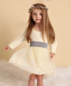Butter Cream & Silver Lace Layer Dress - Infant, Toddler & Girls by Just Couture #zulily #zulilyfinds