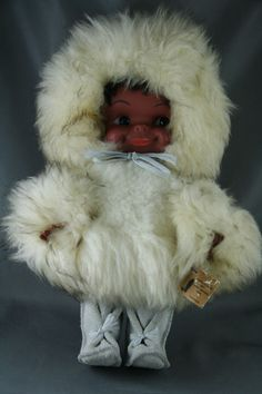 Vintage Creation Du Vagabond Eskimo Inuit Doll Lambs Wool Leather Plastic