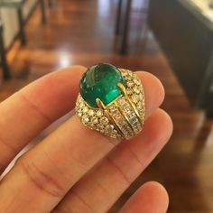 A Colombian Cabochon Emerald and Diamond Ring #ForSale #FDGallery