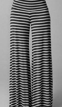 Stylish Elastic Waist Striped Loose-Fitting Wide Leg Pants For Women Bell Bottom Pants, Bell Bottoms, Style Palazzo, Look Fashion, Womens Fashion, Fashion Black, Cheap Fashion, Pantalon Large, Rachel Pally