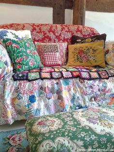 Let's get cosy on the cottage sofa dressed with a vintage patchwork, wool crochet, French quilt and lots of cushions! www.vintage-home.co.uk