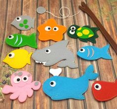 Felt Magnetic Fishing Game Kids Magnet Fishing Set Eco friendly accessory for imaginative play felt sea animals fishwhaleturtle shark Kids Crafts, Felt Crafts, Diy For Kids, Gifts For Kids, Fishing Games For Kids, Felt Games, Magnet Fishing, Kids Magnets, Felt Fish