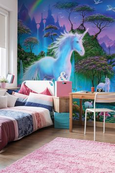 Bring the magic of a unicorn to your children's bedroom with this enchanting unicorn mural by Danny Flynn. Find this and more magical murals from Wallsauce.com Small Room Bedroom, Dream Bedroom, Modern Bedroom, Girls Bedroom, Small Rooms, Childrens Bedroom, Unicorn Bedroom Decor, Unicorn Decor, Unicorn Wall