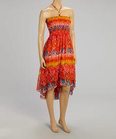 Look at this #zulilyfind! Orange Tribal Hi-Low Halter Dress #zulilyfinds
