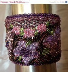 ON SALE Purple Beaded Bracelet Beaded Cuff Seed by bjswearableart, $45.00