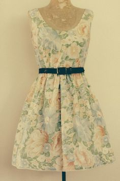 Image of peachy keen tea dress - made to order in a vintage fabric of your choice