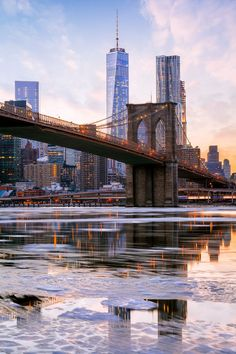 Icy East River, Freedom Tower, Brooklyn Bridge, New York City. NYC will always have my ❤️ East River, Brooklyn Bridge, New York City, Ville New York, Voyage New York, Ellis Island, Dream City, City Photography, Travel Usa