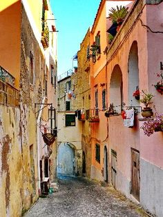 A typical narrow street on the island of Procida, colorful and without the chaos of mass tourism!