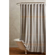 Coyuchi Scallop Striped Shower Curtain featuring polyvore, home, bed & bath, bath, shower curtains, dark yellow, striped shower curtains, stripe shower curtains, coyuchi and yellow shower curtains