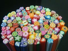 Polymer Clay: like the glass canes for beads and paper weights