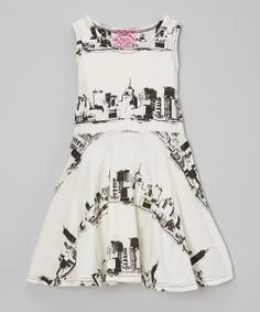 Cream & Black NYC Skater Dress - Infant, Toddler & Girls | zulily