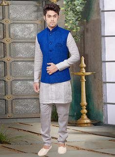 Buy Royal Blue Jute Nehru Jacket online, SKU Code: JMKMDCJ261E. This Blue color nehru jacket for Men comes with Jute. Shop Now!