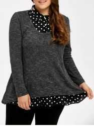 Polka Dot Insert Plus Size Sweater