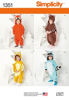 Simplicity Creative Group - Toddlers' Animal Costumes pattern 1351