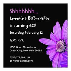 SURPRISE 60th Birthday Party Purple Daisy F201A Invitation