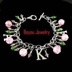 Greek AKA  Sorority   pink  and green crystal bead   Alpha Kapp Alpha Letter Charm Bracelet Jewelry