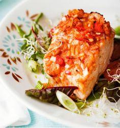 Uunilohi thaimaustein | Soppa365 Baked Salmon, Lasagna, Seafood, Main Dishes, Food And Drink, Vegetarian, Meat, Chicken, Baking