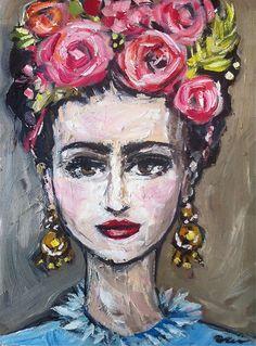 "'Frida con Rosas' by Maren Devine | $250 | 12""H x 9""W x 0.75""D | Original Art | http://vangoart.co/buy/art/8524 @Vango"