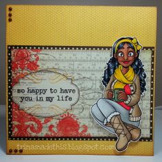 Trina Makes Stuff: Snow Days! Everyday/Love card. Annie with Mug (digi stamp) from Encino Stamps, colored with Copics. Skin - E23/25/27