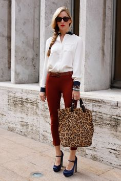Love the deep red, cream, and blue satin shoes with the bold, leopard bag!