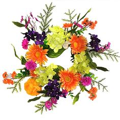 Wreaths For Door Summer Fling Candle Ring Year Round Table Top Centerpiece Spring Summer Into Fall Cheerful Colors Orange Purple Pink Green Hydrangeas Daisies 12 Inch Candle Holder Accessory Driftwood Centerpiece, Unique Centerpieces, Pumpkin Centerpieces, Centerpiece Decorations, Silk Flower Wreaths, Fabric Wreath, Green Hydrangea, Hydrangeas