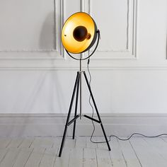 Archie Photographic Tripod Floor Lamp in Black and gold interior but could paint copper