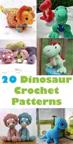 Dinosaur Crochet Patterns – For Your Dino Lover - A More Crafty Life . - Crochet Dinosaur Crochet Patterns – For Your Dino Lover - A More Crafty Life . Beau Crochet, Crochet Mignon, Cute Crochet, Crochet For Kids, Crochet Baby, Crotchet, Crochet Dinosaur Patterns, Crochet Patterns Amigurumi, Crochet Dolls