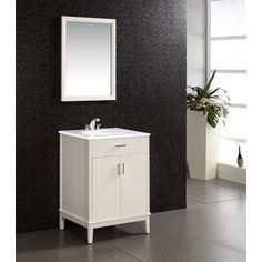 Oxford White 24-inch Bath Vanity with 2 Doors and White Quartz Marble Top | Overstock.com Shopping - Great Deals on WyndenHall Bathroom Vanities