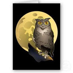 Owl and Full Moon Halloween Greeting Cards