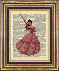 Belle Vader Beauty and the Beast Book page art Vintage Dictionary Page Up Cycled - for a library/office or children's room