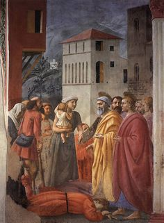 Masaccio The Distribution of Alms and the Death of Ananias (detail) Fresco, 230 x 162 cm Cappella Brancacci, Santa Maria del Carmine, Florence Die Renaissance, Italian Renaissance Art, Renaissance Kunst, Renaissance Paintings, Religious Paintings, Religious Art, Ananias And Sapphira, Early Christian, Italian Painters
