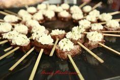Petite Filet lollipops topped with horeradish cream. YUM!