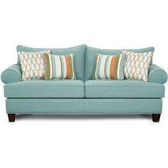 9210TURQUOISESO  Tangerine  87  Turquoise Upholstered Sofa