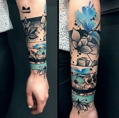 Not crazy about this design, but I really like the use of color -. - Not crazy about this design, but I really like the use of color – Diy Tattoo Project - Best Sleeve Tattoos, Sleeve Tattoos For Women, Tattoos For Guys, Arm Band Tattoo For Women, Colorful Sleeve Tattoos, Black Sleeve Tattoo, Cover Up Tattoos For Women, Forearm Sleeve, Crazy Tattoos