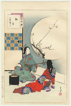 First Call of the Warbler: Women of the Manji Era (1658-61) by Toshikata (1866 - 1908)