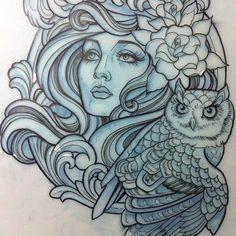 Lady and owl -Teniele Sadd.