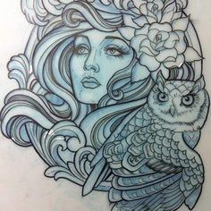 Lady and owl - Teniele Sadd.